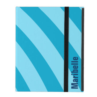 "Blue Curving Stripes ""Add Your Name"" iPad Folio Case"