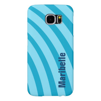 """Blue Curving Stripes """"Add Your Name"""" Samsung Galaxy S6 Cases"""