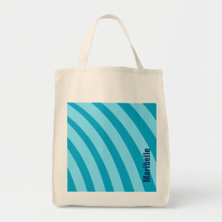 """Blue Curving Stripes """"Add Your Name"""" Tote Bag"""
