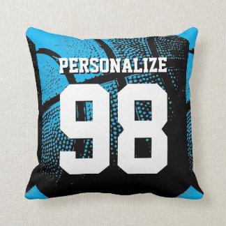 Blue custom basketball jersey number throw pillow