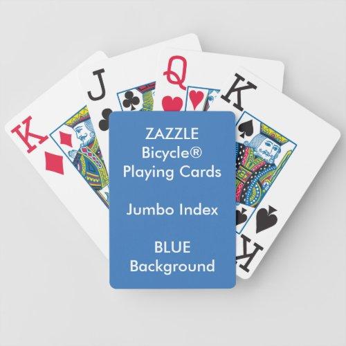 BLUE Custom Bicycle Jumbo Index Playing Cards