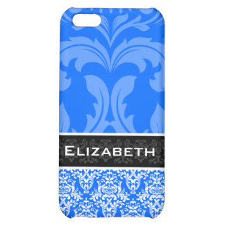 Blue Custom Damask iPhone 4 Case With Your Name