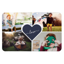 Blue Custom Family Photo Collage 4x6 Magnet