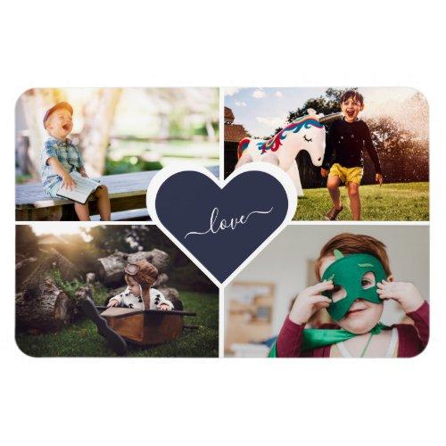 Blue Custom Family Photo Collage 4x6 Magnet