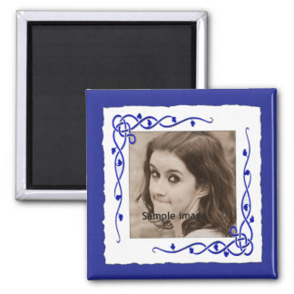Blue Custom Frame Instagram Photo Create Your Own 2 Inch Square Magnet