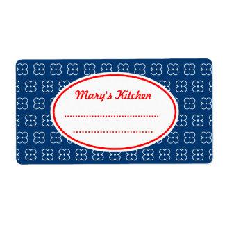 Blue Custom Kitchen Labels