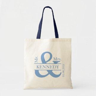 Blue Custom Monogram Newly Weds Wedding Favor Budget Tote Bag