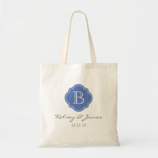 Blue Custom Monogram Wedding Favor Tote Bags