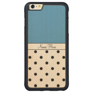 Blue Custom Name, Black Polka Dots Carved Maple iPhone 6 Plus Bumper Case