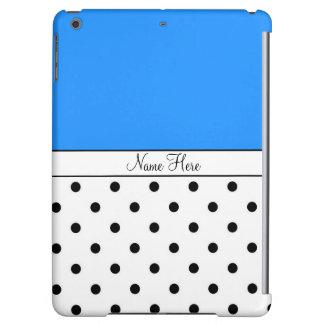 Blue Custom Name, Black & White Polka Dots iPad Air Cover