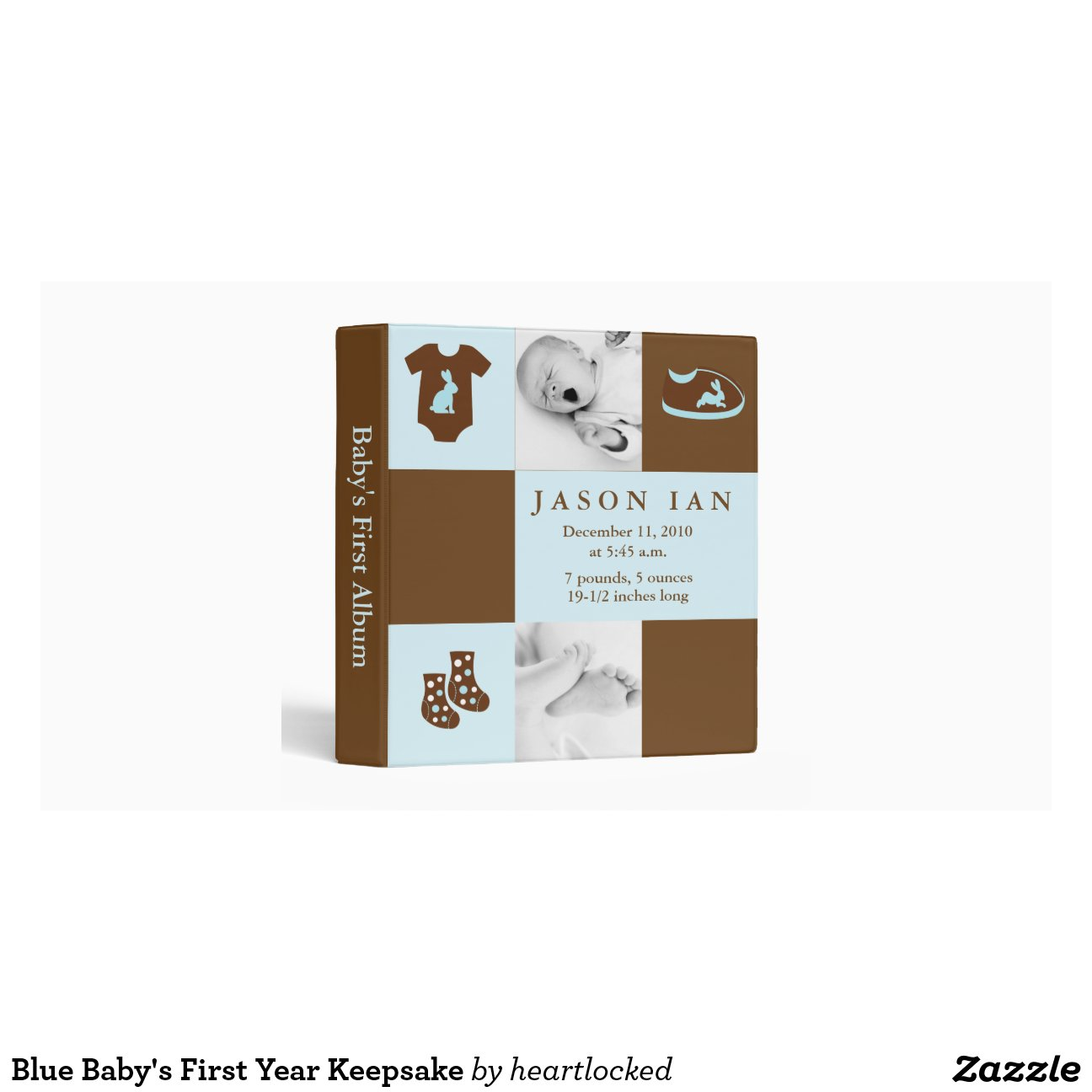 blue custom photo baby clothes 3 ring binders zazzle