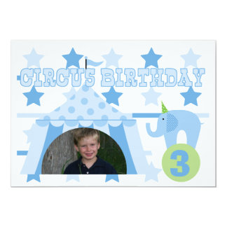 "Blue Custom Photo Circus Birthday 5x7"" Invitation"