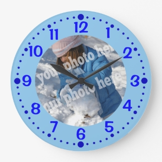 Blue Custom Photo Clock with Minutes Template