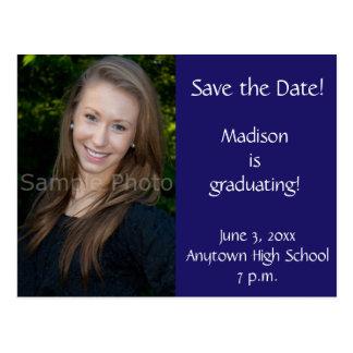 Blue Custom Photo Graduation Save the Date Card