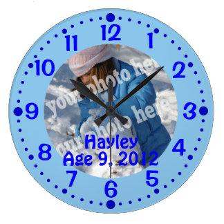 Blue Custom Photo Text Clock w/ Minutes Template