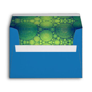 Blue, custom pre-addressed green bubble art lined envelope