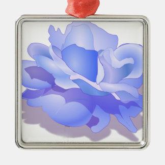 Blue Custom Rose Flower, Blue Rose Gifts Metal Ornament