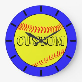 Blue Custom Softball Wall Clock