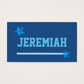 BLUE Custom Sports Name Stripe Grunge Stars A14 Business Card