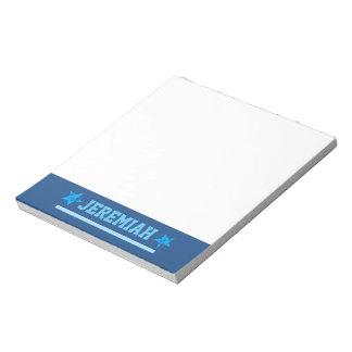 BLUE Custom Sports Name Stripe Grunge Stars A27A Notepad