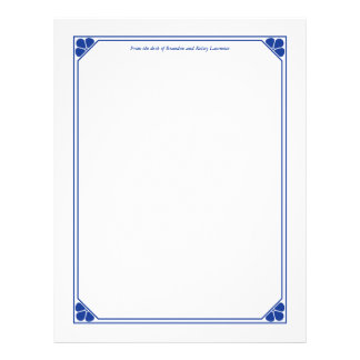 Blue Custom Stationery with Signature Heading Text Letterhead Template