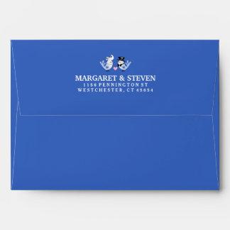 Blue Custom Wedding Love Birds Pink with Heart Envelopes