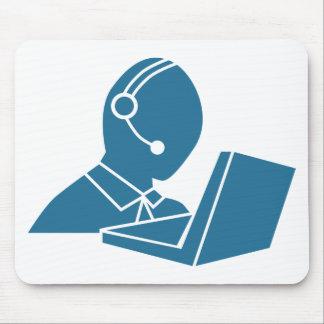 Blue Customer Service Sales Representative Icon Mouse Pad