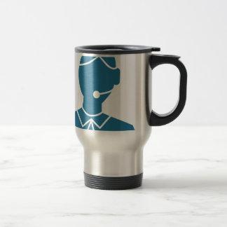Blue Customer Service Sales Representative Icon Stainless Steel Travel Mug