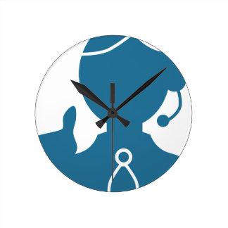 Blue Customer Service Sales Representative Icon Round Clock
