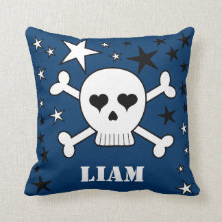 Blue Customizable Cute Crossbone Skull and Stars Throw Pillow