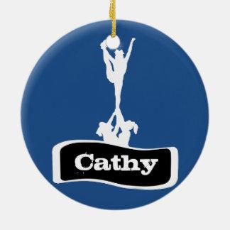 Blue Customizeable  Cheerleader stunt ornament