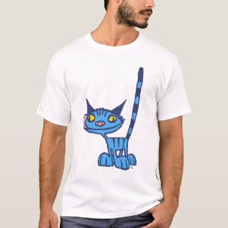 Blue Cute and Cool Kitty cartoon Women T-shirt