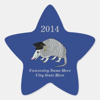 Blue Cute Armadillo Star Graduation Sticker