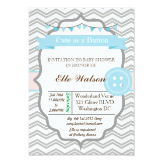 "Blue Cute as a Button Baby Shower Invitations 5"" X 7"" Invitation Card"