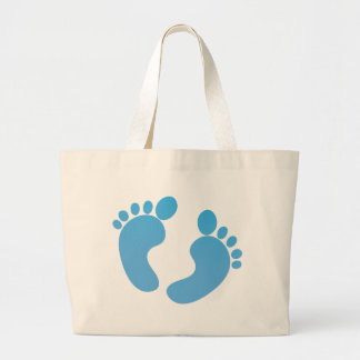 Blue cute baby feet maternity large tote bag