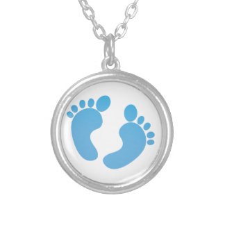 Blue cute baby feet maternity silver plated necklace