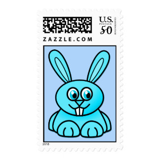 {Blue} Cute Bunny Postage