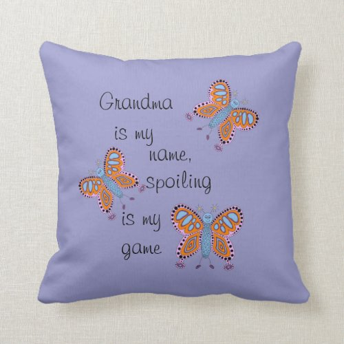 Blue Cute Butterfly Grandparent Pillow