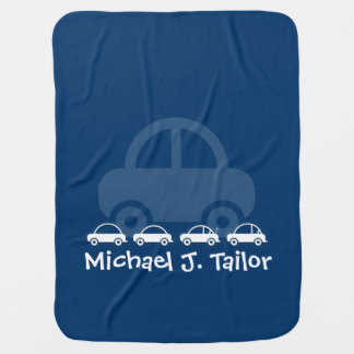 Blue Cute Cars Personalized Baby Blanket
