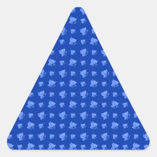 blue cute cat pattern triangle sticker