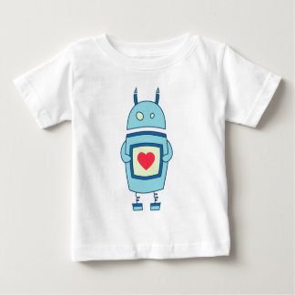 Blue Cute Clumsy Robot With Heart Baby Baby T-Shirt