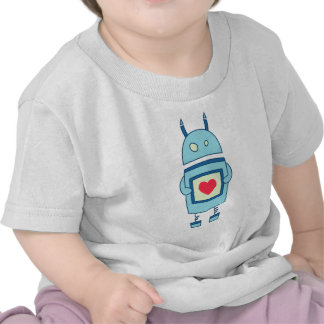 Blue Cute Clumsy Robot With Heart Baby Shirts