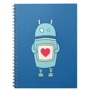 Blue Cute Clumsy Robot With Heart Notebook
