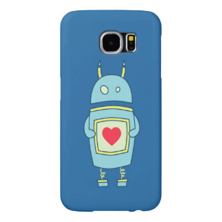 Blue Cute Clumsy Robot With Heart Samsung Galaxy S6 Case