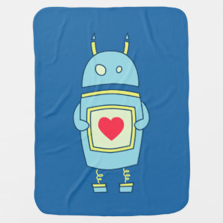 Blue Cute Clumsy Robot With Heart Stroller Blankets