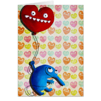 Blue cute creature with heart balloon greeting card