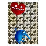 Blue cute creature with heart balloon greeting card