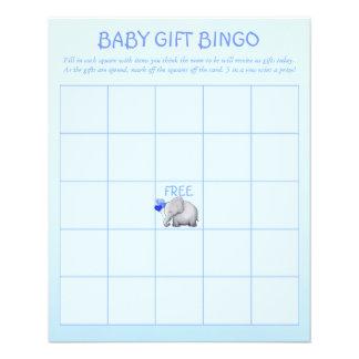 Blue Cute Elephant Baby Boy Shower Bingo Game Flyer