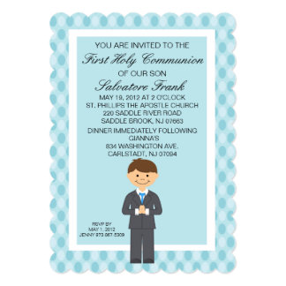 "Blue Cute First  Communion Boy Invitation 5"" X 7"" Invitation Card"