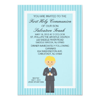 Blue Cute First  Communion Boy Invitation